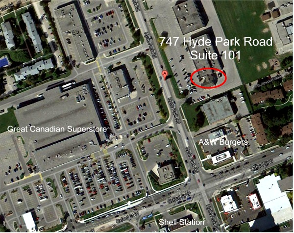Satellite Map of 747 Hyde Park Road
